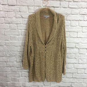Plus Size Knit Metallic Cardigan